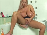 Chubby busty Lauara in the shower