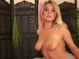 Blonde Donna strips down and gets off