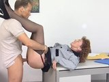 German lady gets nailed in her office