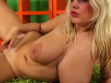 BBW Pamela plays with dildo