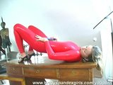 dildo penetration in fetish shiny lycra (clip)