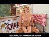 BLONDE BIG TIT MILF'S DAUGHTER FUCKS AT RESTAURANT