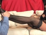 Busty Audrey Bitoni very sexy footjob