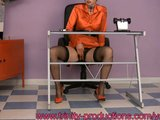 busty stockings  MILF office upskirt masturbation