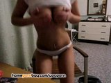Pretty russian amateur GF stripping on webcam