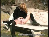 blonde 18 yo girl masturbates on a public bench