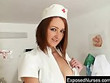 Sexy redhead nurse in latex uniform gets nasty