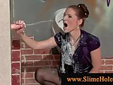 Porn Tube of Clasy Brunette At Gloryhole Horny