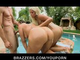 Big Tit & Ass Pornstars are fucked hard in anal threesome outdoors
