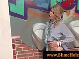 Porn Tube of Blond Slut Blows Cock Through Gloryhole