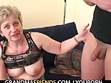 Oldie takes two cocks after masturbation