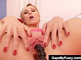 Slutty blond Leona pussy stretching and fingering