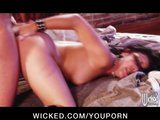 Horny young skinny brunette slut has wet tight pussy fucked hard