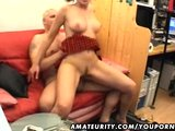 Young girlfriend sucks and fucks an old guy with facial