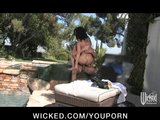 Young busty brunette teen slut fucked hard by big-dick outdoors