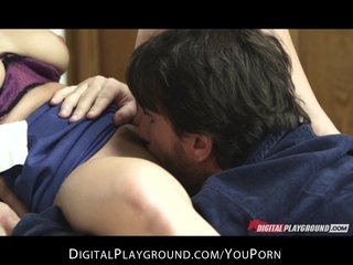 Big-tit brunette french flight attendant fucks husbands hard dick