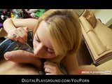 Stunning blond girlfriend Lexi Belle toys pussy before riding BF