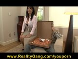 HOT brunette MILF Sienna West fucks her young pizza boy's cock