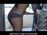 Sexy young brunette babe Nova Brooks masturbates at the car wash