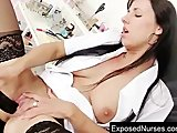 Naughty leggy nurse Nikki plays with clit pump