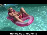 Sexy bikini-clad blond with perfect ass strips down &amp; masturbates