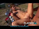 HOT skinny brunette hitchhiker has passionate fun on a motorcycle