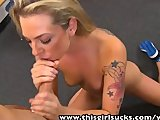 ThisGirlSucks Small tits Tattooed babe Bailey Blue handjob blowjob cock