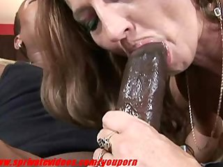 Interracial Hardcore Sex video: Brunette milf having interracial sex