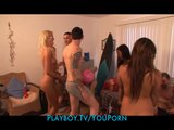 Group of brunette & blonde girlfriends throw a huge house party
