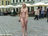 Naughty blonde chicks naked on public streets