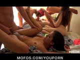 Group of four teen sluts start a huge orgy at a college house party