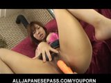 Serina Hayakawa in pink satin has her pussy toyed until she cums