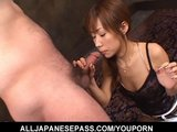 Slim Japanese MILF gets face fucked by a big cock