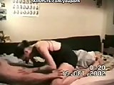 Hot lovers film passionate sex scene at home