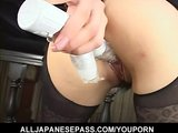 Horny guy pummels a slick pussy with a dildo as she sucks on his toys