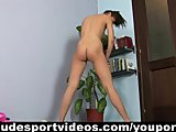 Teen girl with the dragon tattoo doing nude sports