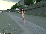 Crazy unshaved czech chick naked on public streets