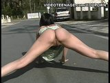 brunette teen flashing on the road