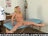 Blonde babe gets examined by rude gynecologist