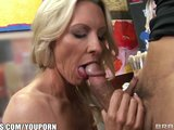 Mature blonde MILF shows off her pierced nipples &amp; rides big-dick