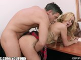Cute blonde teen begs her professor to teach her how to squirt