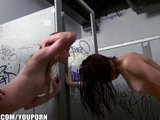 Three bi-curious sluts sneak into the men&#039;s bathroom for an orgy