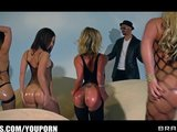 Four big-booty Brazzers girls share one hard cock