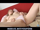 Cute newcomer Evelina Reene dildo fucks herself
