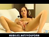 Sweet redhead Hope Howell fucks glass dildo