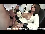 Mistress-Carly gives her student bottom marks for his wanking