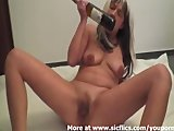 Fucking a wine bottle backwards in my huge cunt
