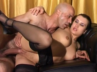 Doggystyle Hugeboobs video: Brunette Gets Laid On The Bar - Telsev