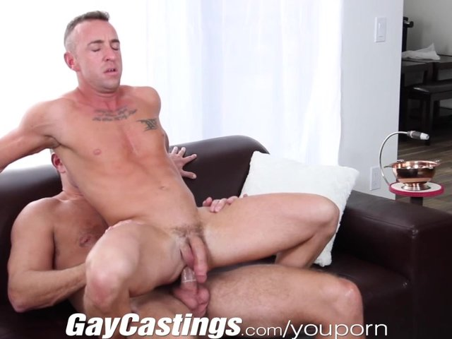 GayCastings Tatted muscle stud jerks off on cam for s