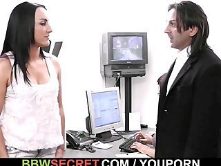 Black Busty Chubby video: Boss cheats with big black secretary